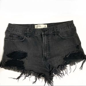 Abercrombie and Fitch high rise distressed shorts